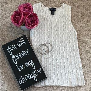 Style & Co cream ribbed sweater. EUC